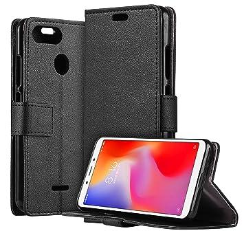 HDRUN Funda Xiaomi Redmi 6 - Prima Ultra Delgado Carcasa Libro de Cuero PU Tapa Billetera con Ranuras de Tarjeta Cierre Magnético Elegante Protección ...