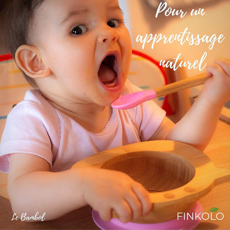Das Original Bambol von Finkolo Frosch Form Baby-Saugnapf und passender L/öffel Set aus nat/ürlichem Bambus