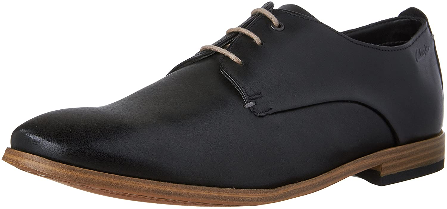 CLARKS SHOES CHINLEY WALK BLACK LEATHER