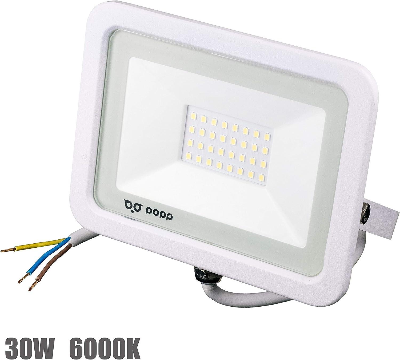 Popp PACK 2 Floodlight Led Foco Proyector Led para Exterior Iluminación Decoración 6000k luz fria Impermeable IP65 blanco (30)
