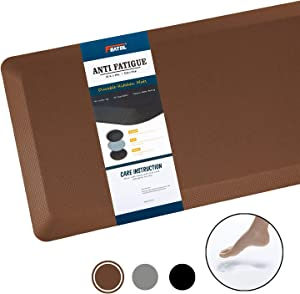 """Anti Fatigue Mat Kitchen Mats Cushioned,Thicken Core Foam 20x39x9/10-Inch,Perfect for Kitchens,Standing Desks and Garages,Phthalate Free,Relieves Foot,Knee,and Back Pain(Brown,20""""x39"""")"""