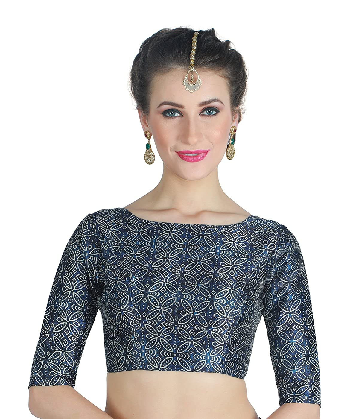 677b5e9f3c65f4 Studio Shringaar Women's Indigo Blue Jaipuri Print Poly Raw Silk Readymade Saree  Blouse.: Amazon.in: Clothing & Accessories