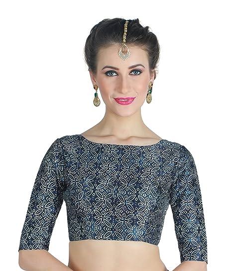 9f3f858eb1bece Studio Shringaar Women's Indigo Blue Jaipuri Print Poly Raw Silk Readymade Saree  Blouse.