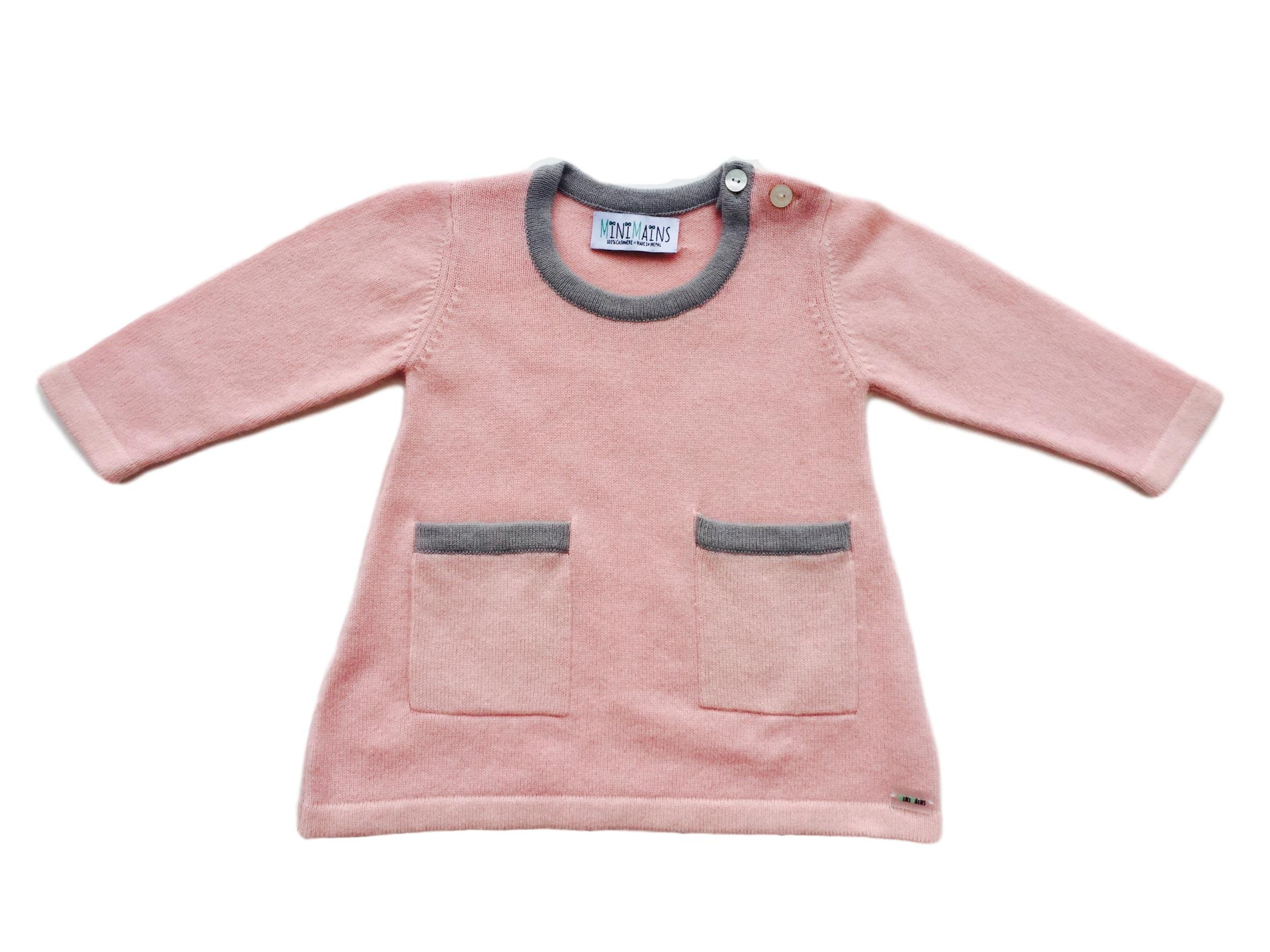 Minimains Little Girls' Pure Cashmere Dress With Pockets 2y Pink