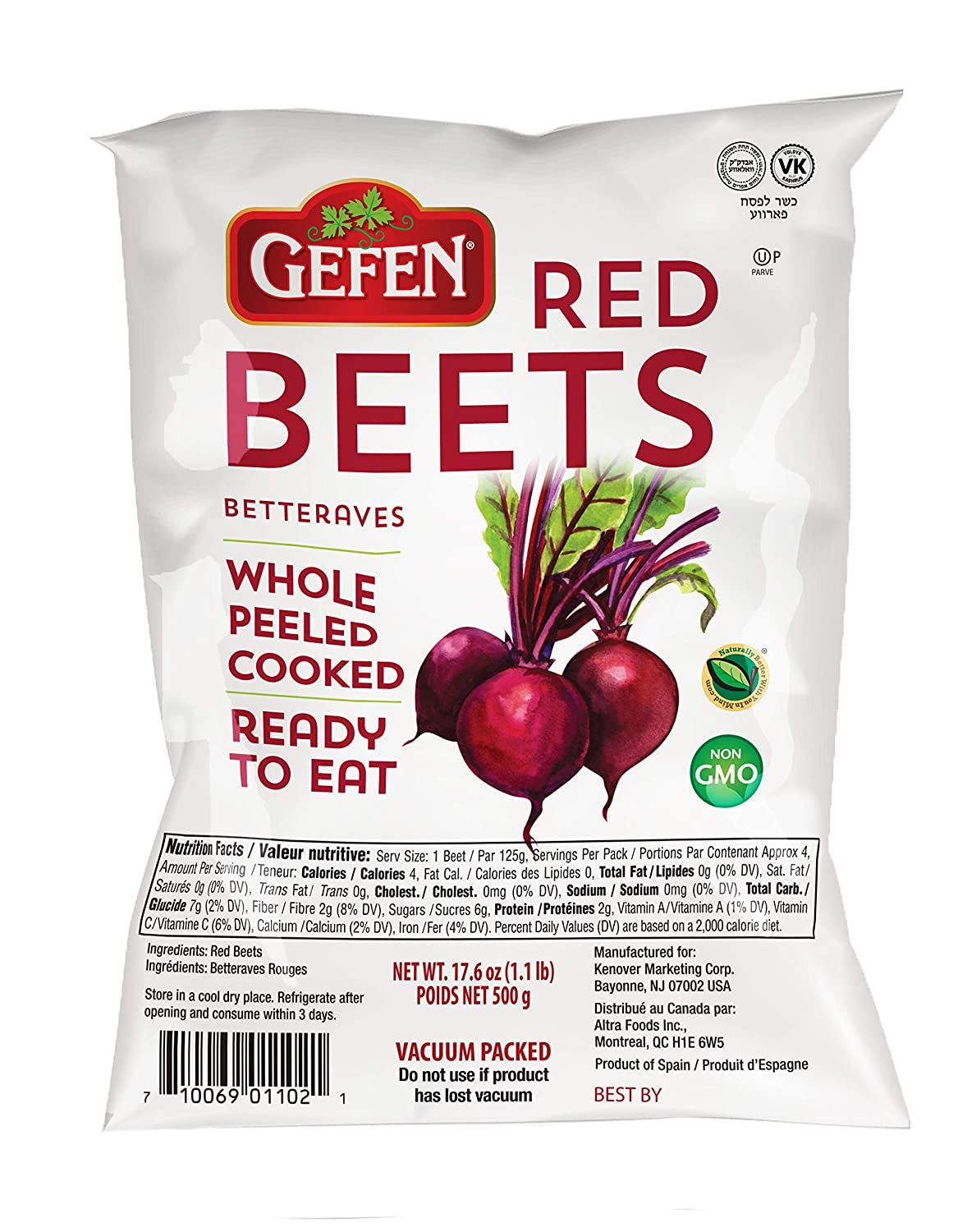 gefen red beets whole peeled cooked ready to eat vacuum packed