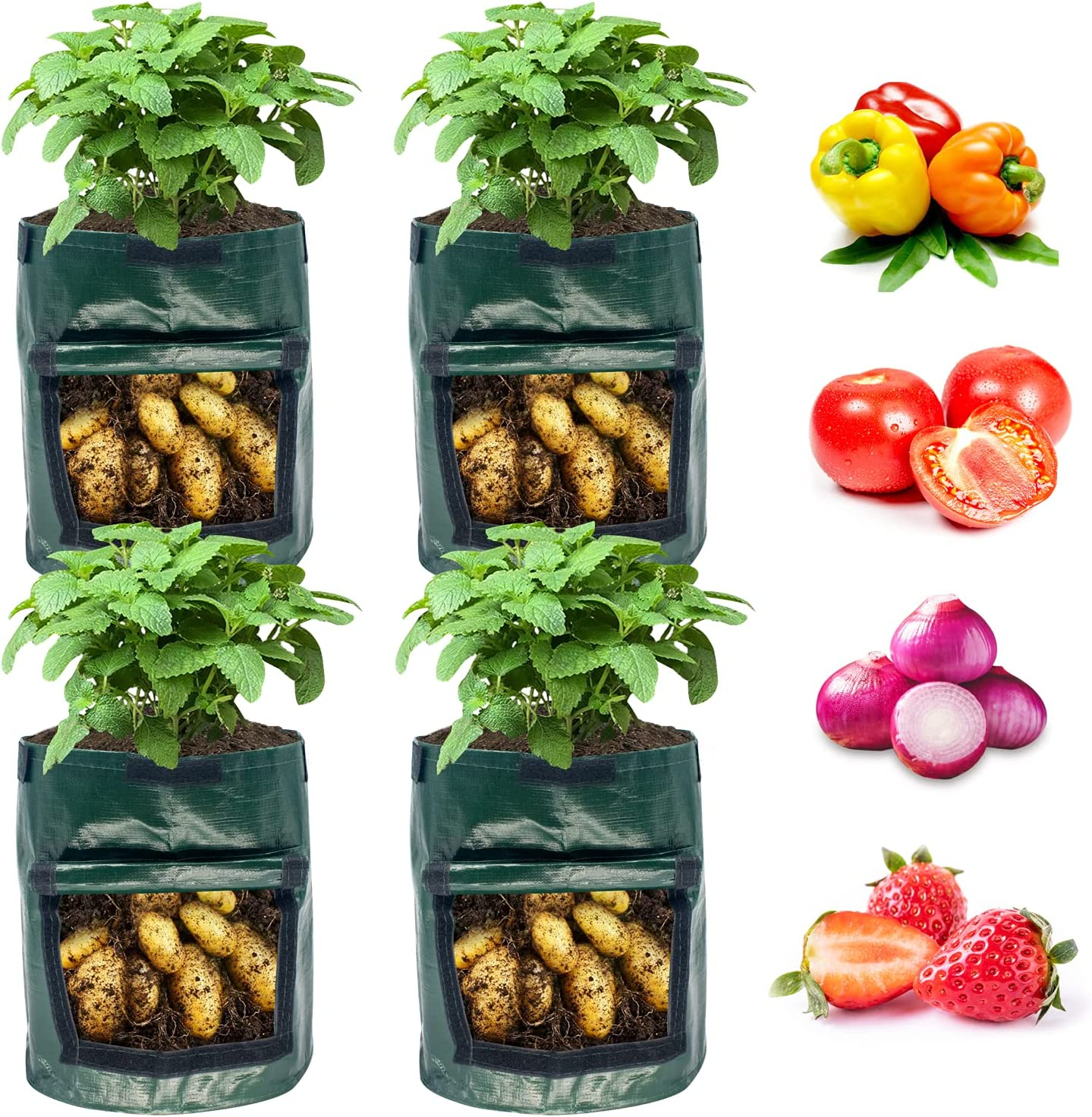 Potato Grow Bags 7 Gallon 4 Pack, NAMTSO Plant Grow Bags with Flap, Garden Grow Bags with Handles Heavy Duty Thickened 200GSM