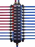 Viega 50243 1/2-Inch PureFlow Zero Lead Poly Alloy PEX Crimp Manabloc With 24 Ports - 15 Cold 9 Hot