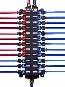 Viega 50363 1/2-Inch PureFlow Zero Lead Poly Alloy PEX Crimp Manabloc With 36 Ports, 22 Cold 14 Hot