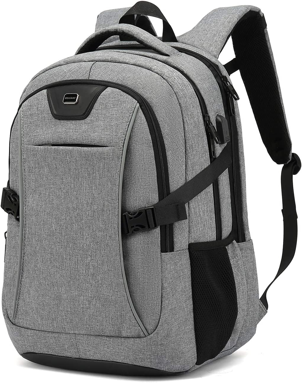 Travel Laptop Backpack, Drop Protection Computer Backpacks Durable Hiking Work Business Daypack Water Resistant Schoolbag with USB Charging Port, Gifts for Men Women Boys Girls fits 15.6 Inch Laptops (15.6 Inch, Light Grey)