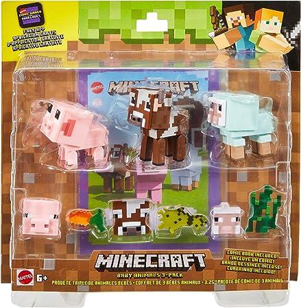 Minecraft - Modo Comic Pack de 3 animales Juguetes niños +6 años (Mattel GFY78): Amazon.es: Juguetes y juegos