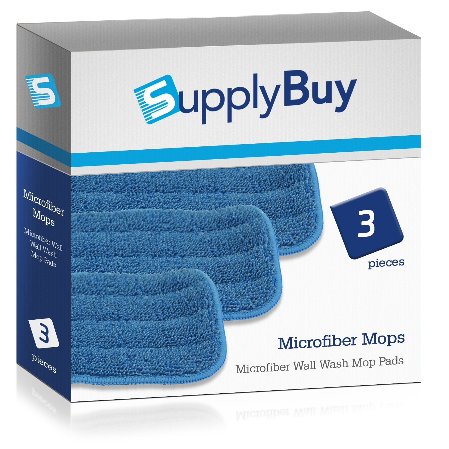 SupplyBuy Microfiber Wall Wash Mop Pads | Washable and Reusable | Pack of 3