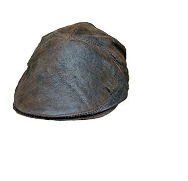 Real Leather Distressed Ivy Cap Leather Gatsby Newsboy Flat Cap Hat (S (55 0bb7994e888