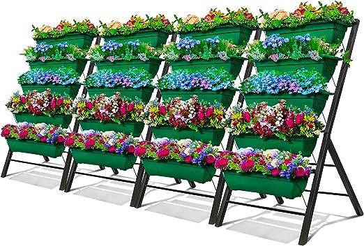 Cama elevable de jardín vertical para jardín, 5 cajas de contenedores, balcón de patio para interiores y exteriores, drenaje de agua en cascada para cultivar verduras, hierbas y flores: Amazon.es: Jardín