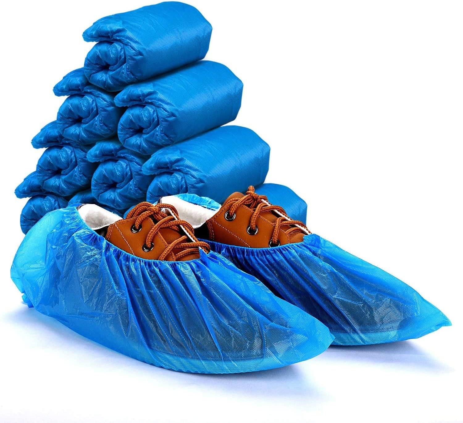 HOUSE DAY Shoe Covers Disposable 100 Pack(50 Pairs) Disposable Shoe Booties Covers Waterproof Non Slip Shoes Protectors Covers Durable Boots Covers,One Size Fits All,Blue