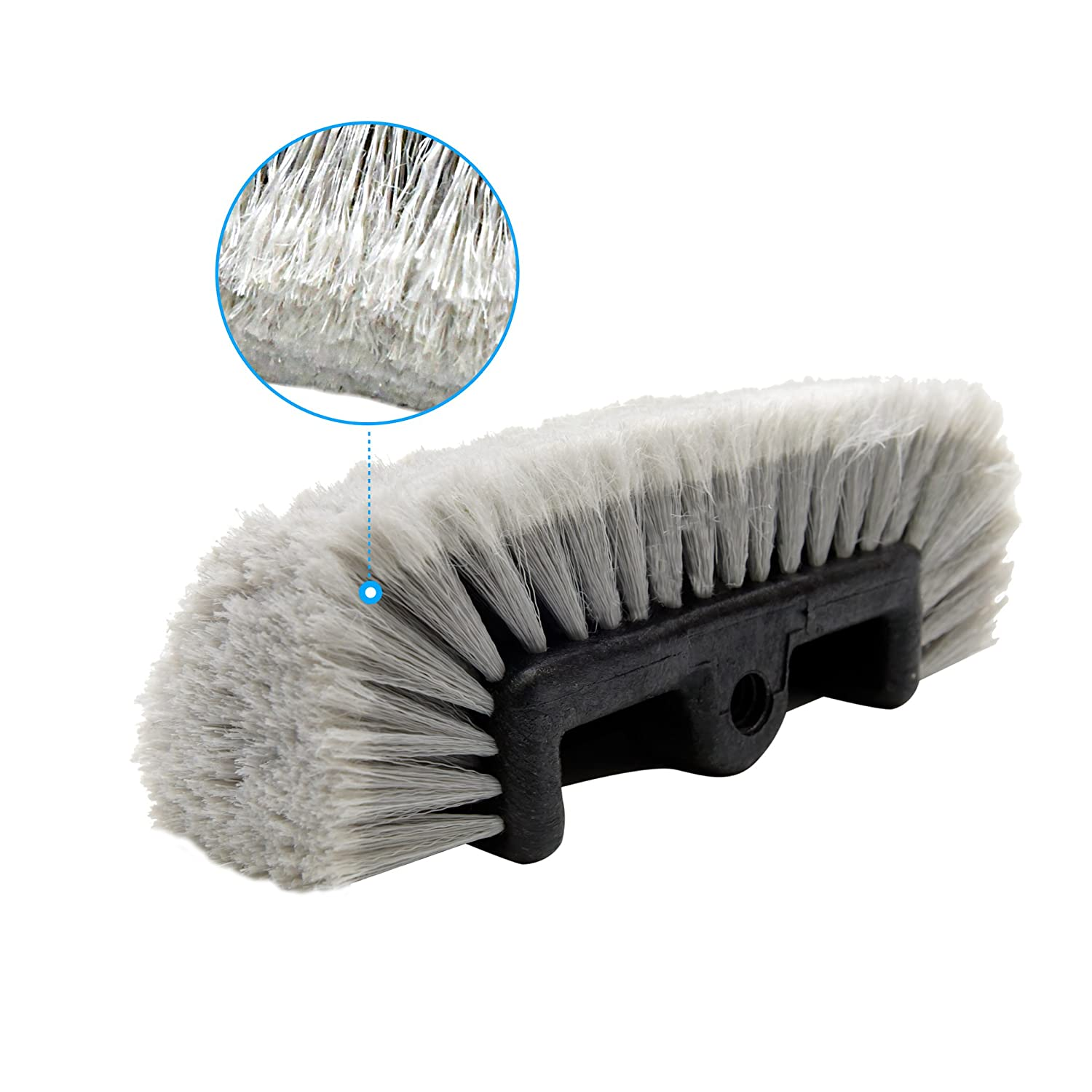 Grey CARCAREZ Flow Thru Dip Car Wash Brush Head with Soft Bristle for Auto RV Truck Boat Camper Exterior Washing Cleaning 12 inch