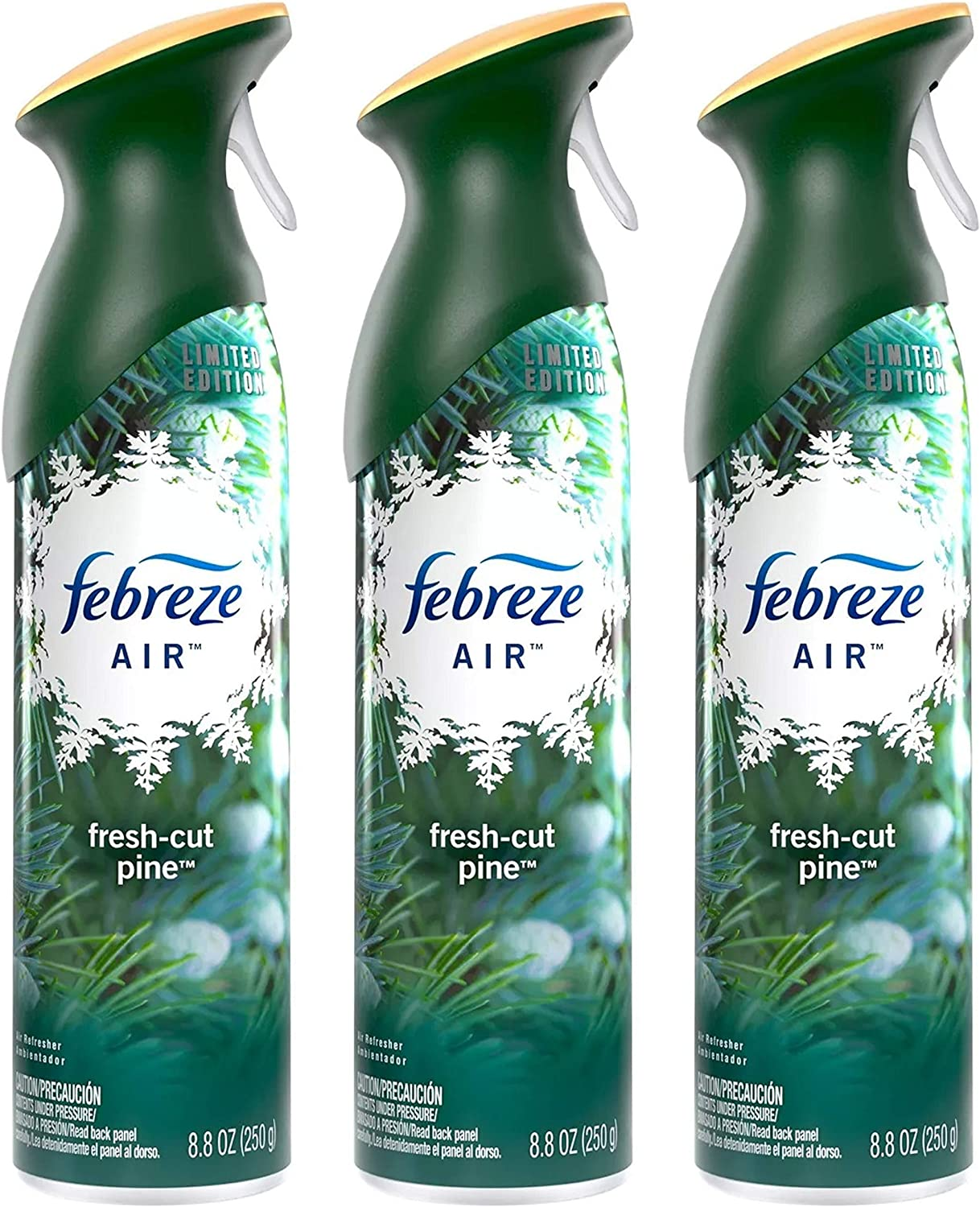 Febreze Air - Air Freshener Spray - Limited Edition - Winter Collection 2017 - Fresh-Cut Pine - Net Wt. 8.8 OZ (250 g) Per Bottle - Pack of 3 Bottles