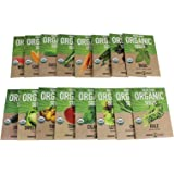 Heirloom, Organic, Non-GMO Garden Seeds - Salad, Salsa, Fruit, Herb, Vegetable – Collection of 16 Non-Hybrid, Open Pollinated Seeds: Zucchini, Kale, Beet, Tomato, More