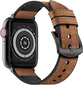 MARGE PLUS Compatible Apple Watch Band 44mm 42mm, Sweatproof Hybrid Genuine Leather and Silicone Sports Watch Band Replacement for iWatch SE Series 6 5 4 3 2 1, Brown,42mm