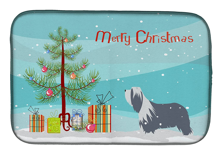 Caroline 's Treasures bb2935ddm Bearded Collie Dog Merryクリスマスツリーディッシュ乾燥マット、14 x 21、マルチカラー   B07BQDR4RH