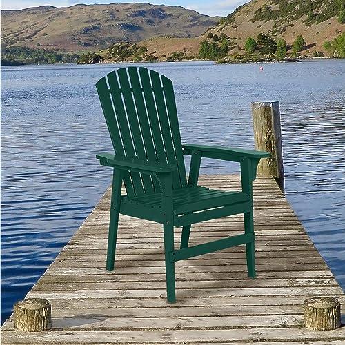 Painted Acacia Wood Upright Adirondack Chair – Hunter Green