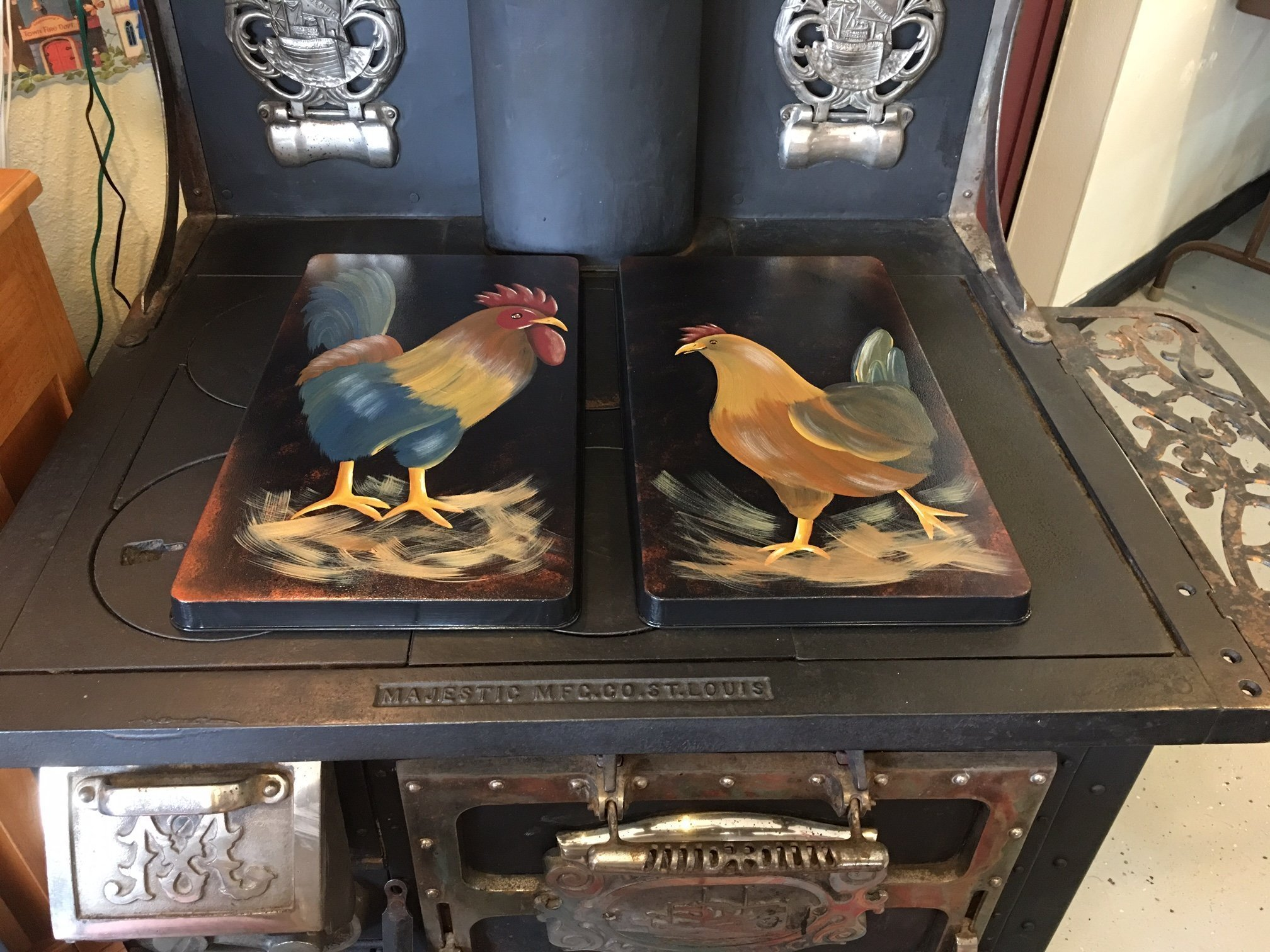 Farmhouse Rooster and Hen Stove Burner Cover Set by Primitive Country Loft House