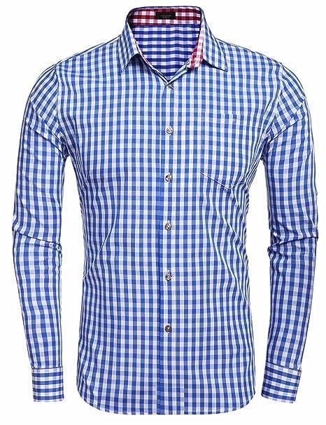 Coofandy Camisa Casual a Cuadros Manga Larga para Hombre Vestir  Amazon.es   Ropa y accesorios ddcab0f06820a