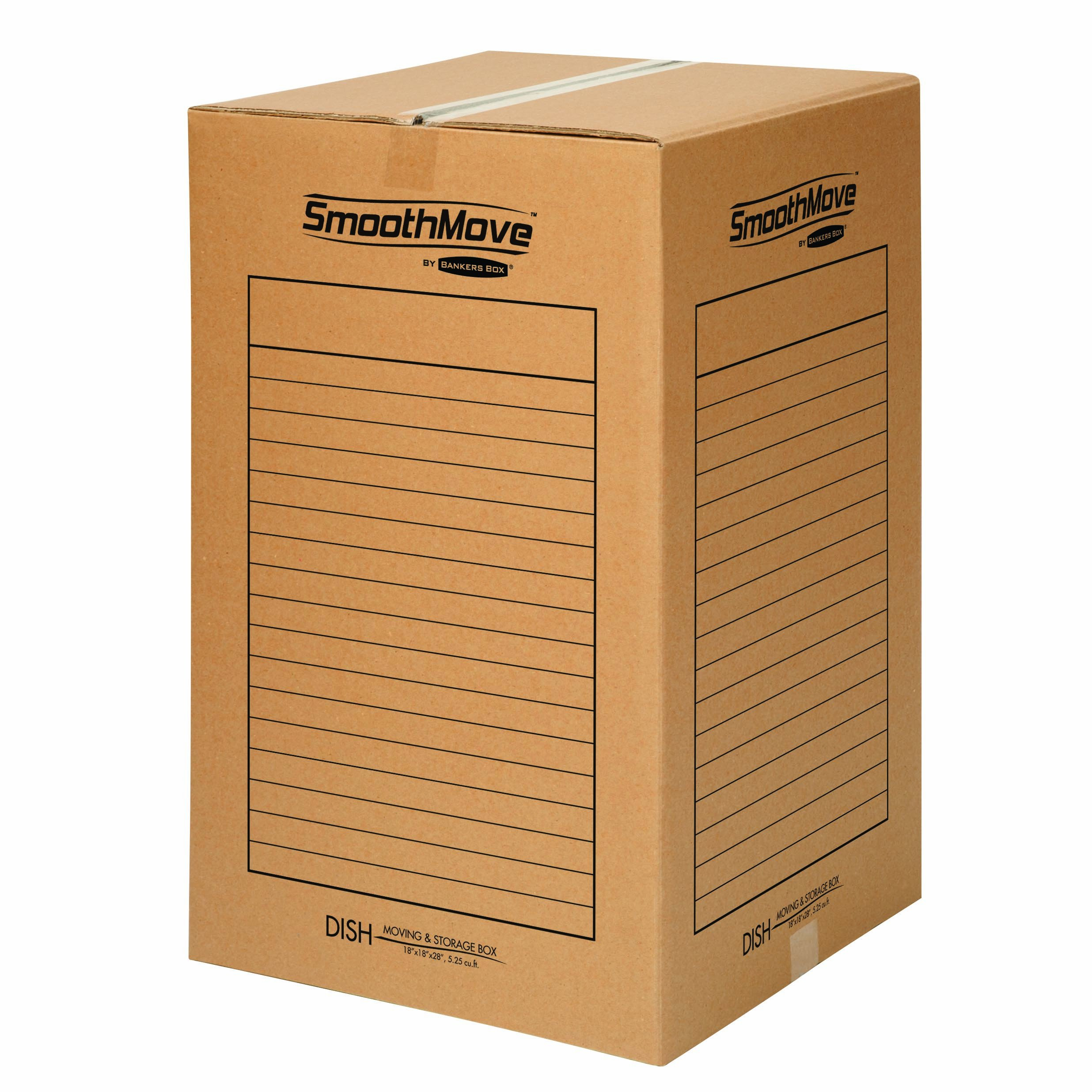 Bankers Box SmoothMove DishPack Moving Boxes and Packing Boxes With Double Wall Construction, 18 x 18 x 28 Inches, 4 Pack (7711101)