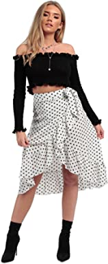 e8ee0658faf MISSI LONDON New Women s Ladies Girl s Polka Dot Frill Wrap Casual Midi  Skirt (White