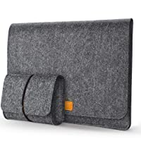 Mosiso Laptop Sleeve for 13-13.3 Inch MacBook Air, MacBook Pro, Ultrabook Notebook Tablet Computer, Felt Flapover Style Slim Carrying Protector Business Travel Bag with Small Pouch Case, Black