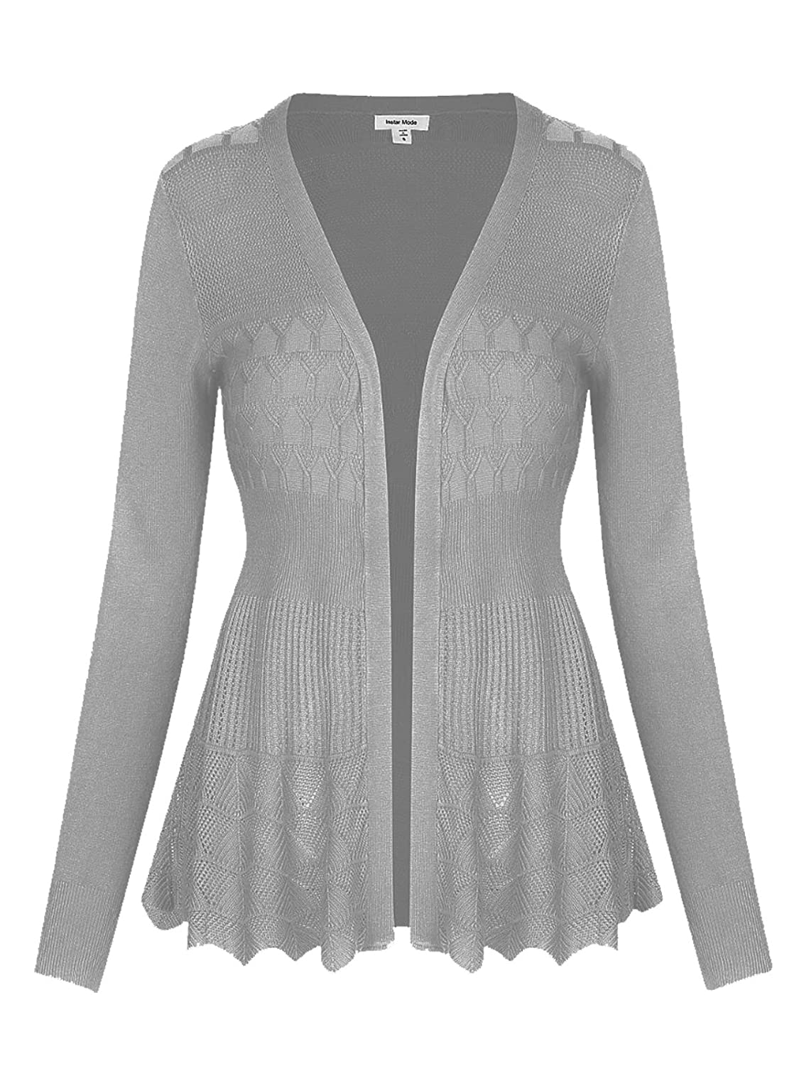 C09115 H.grey Instar Mode InstarMode Women's Long Sleeve Crochet Knit Sweater Draped Open Cardigan