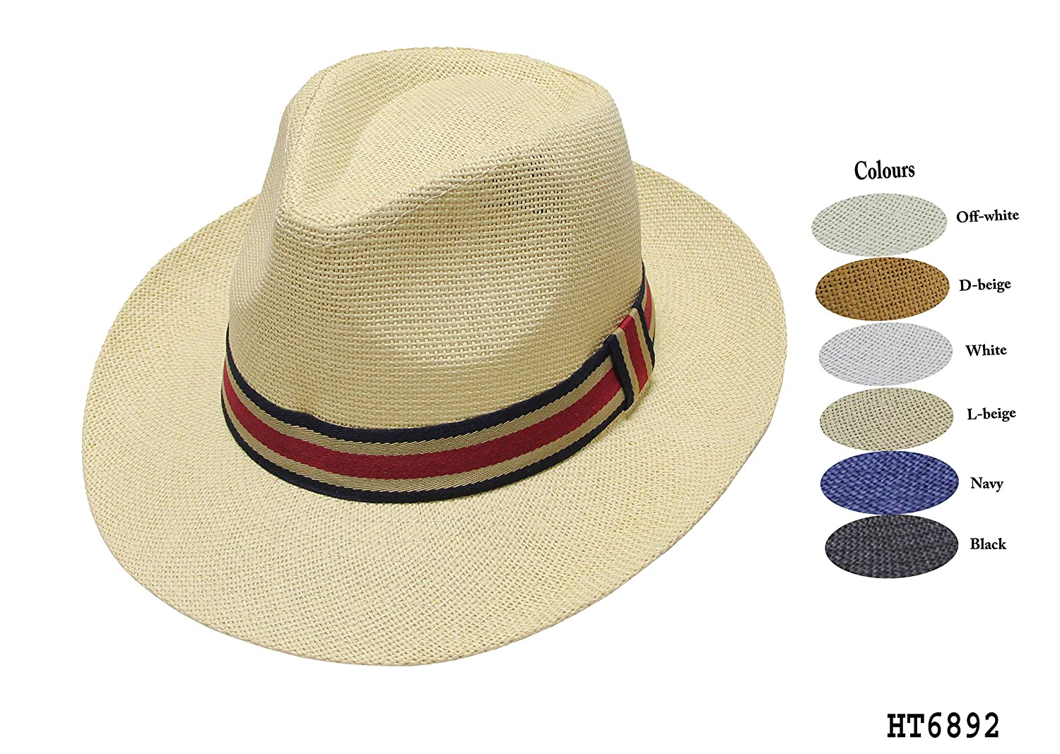Mens Beige Panama Trilby Fedora Summer Sun Hat Holiday Beach Garden Party