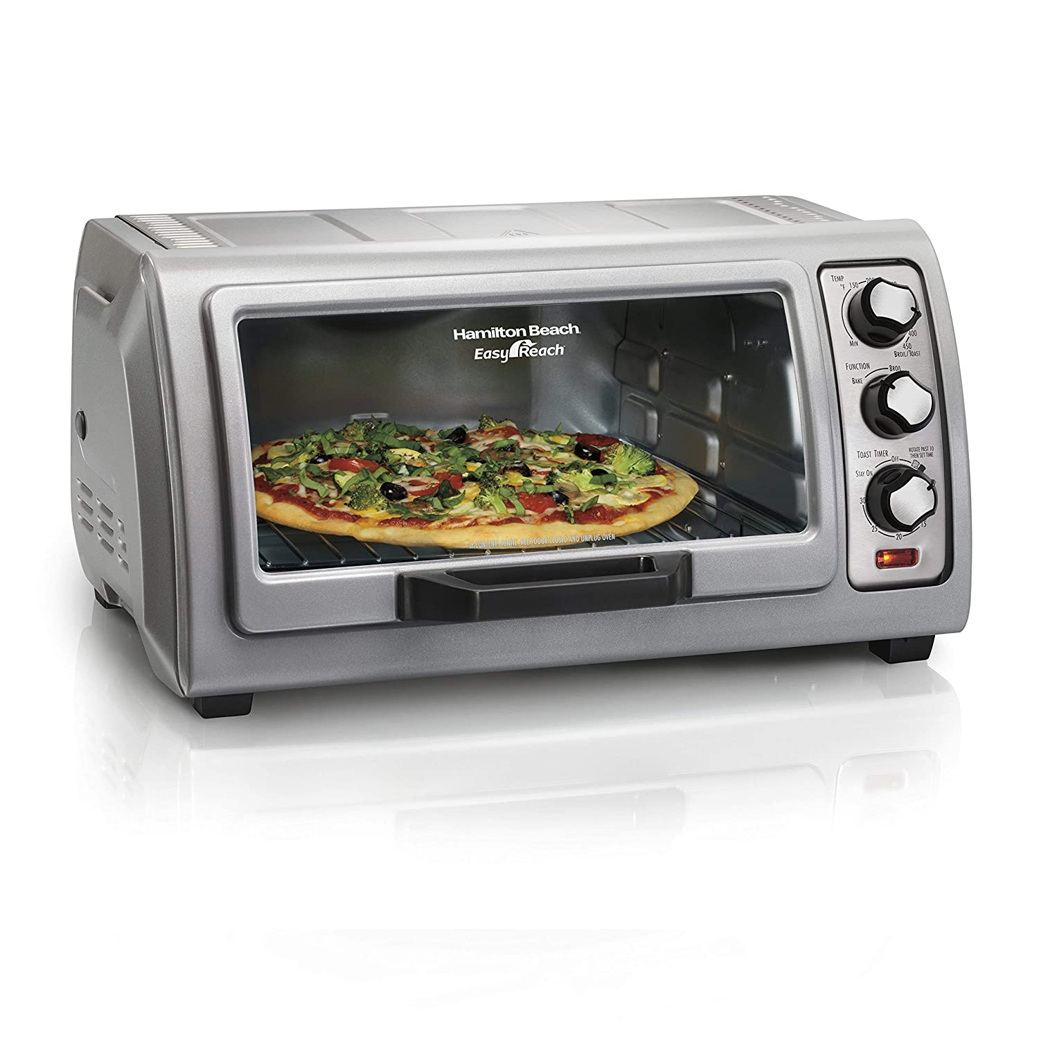 Hamilton Beach Countertop Toaster Oven Easy Reach with Roll-Top Door, 6-Slice & Auto Shutoff, Silver (31127D) (Renewed)