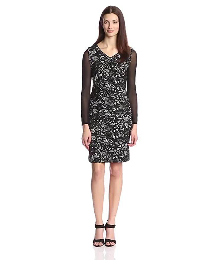 Marc New York by Andrew Marc Womens 3/4 Sleeve Lace Dress, Black/Ivory, 10 at Amazon Womens Clothing store: