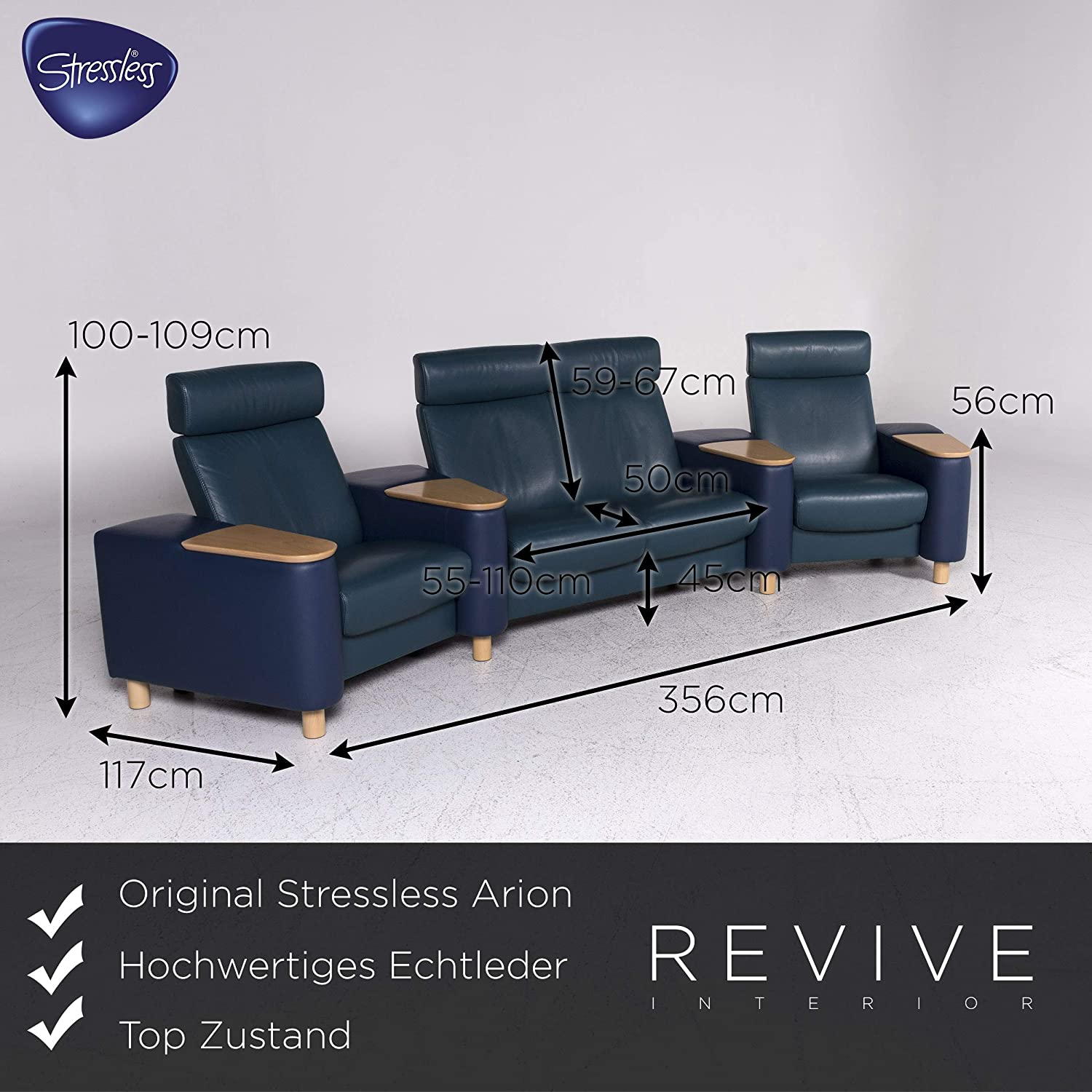 Stressless Arion Designer Leather Sofa Set Blue Petrol 1x ...
