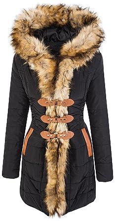 1a30fccfa9d7 Designer Damen Winter Mantel Winterjacke gefüttert Kunstfellkragen D-357   D-13031 Schwarz XL