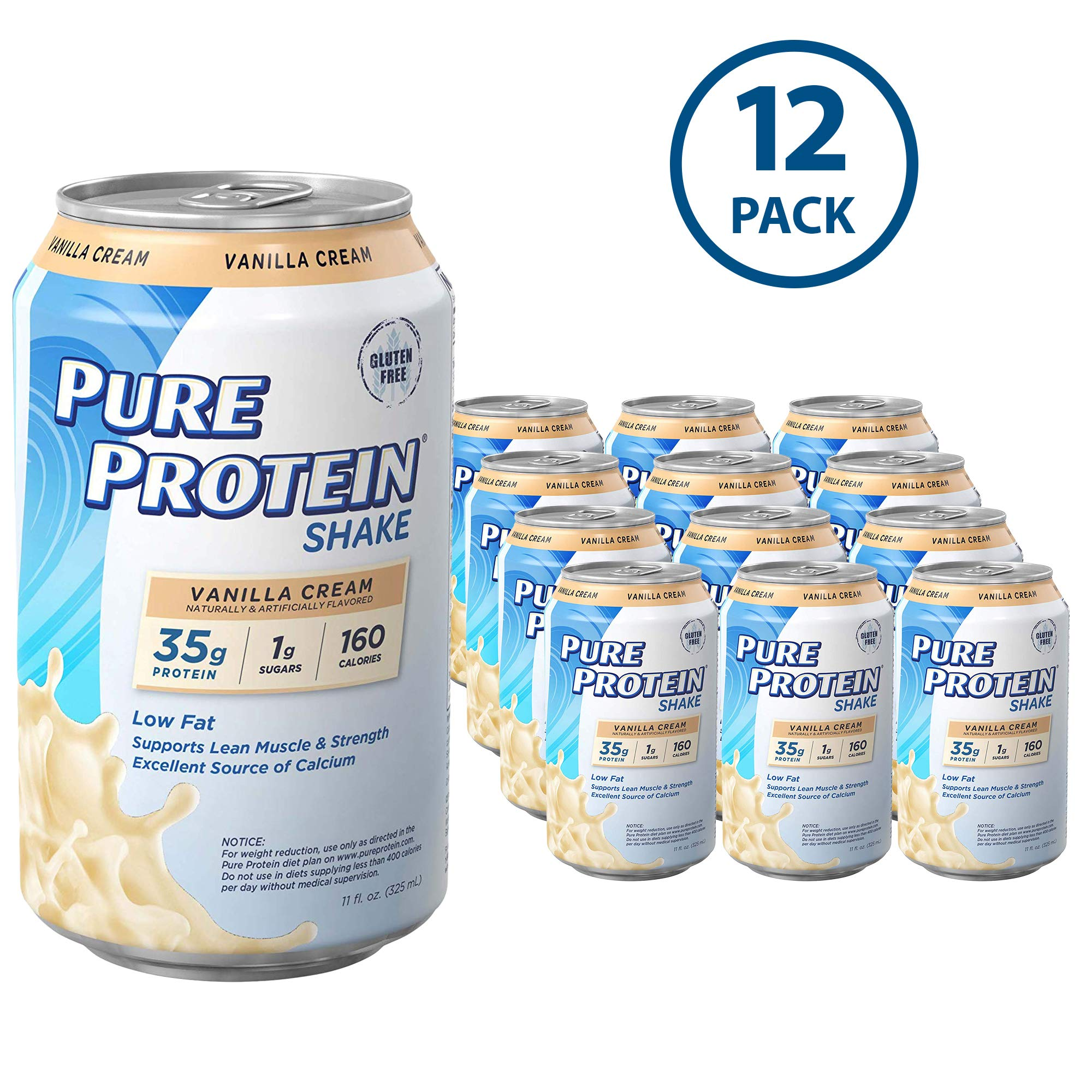 Pure Protein Ready to Drink Shakes, High Protein Vanilla Cream, 11oz, 12 count by Pure Protein