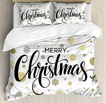 Amazoncom Ambesonne Christmas Duvet Cover Set King Size Merry