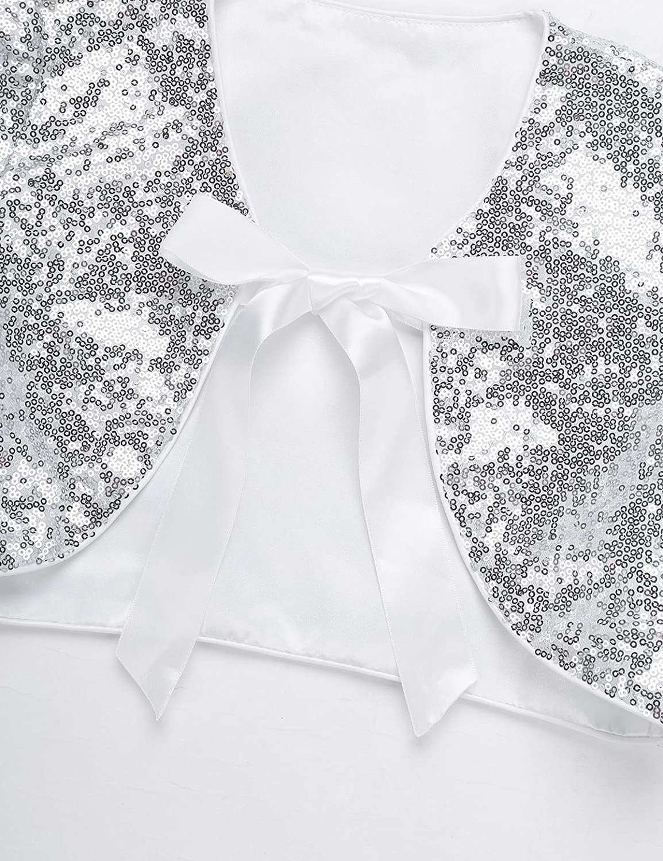 YiZYiF Children Girls Sequin Cap Sleeves Open Bolero Jacket Bridesmaid Wedding Pageant Party Shrug Jacket Costume