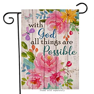 Artofy with God All Things are Possible Decorative Spring Summer Garden Flag, House Yard Religious Flowers Decor Butterfly Outdoor Small Inspirational Flag, Home Outside Farmhouse Decorations 12 x 18