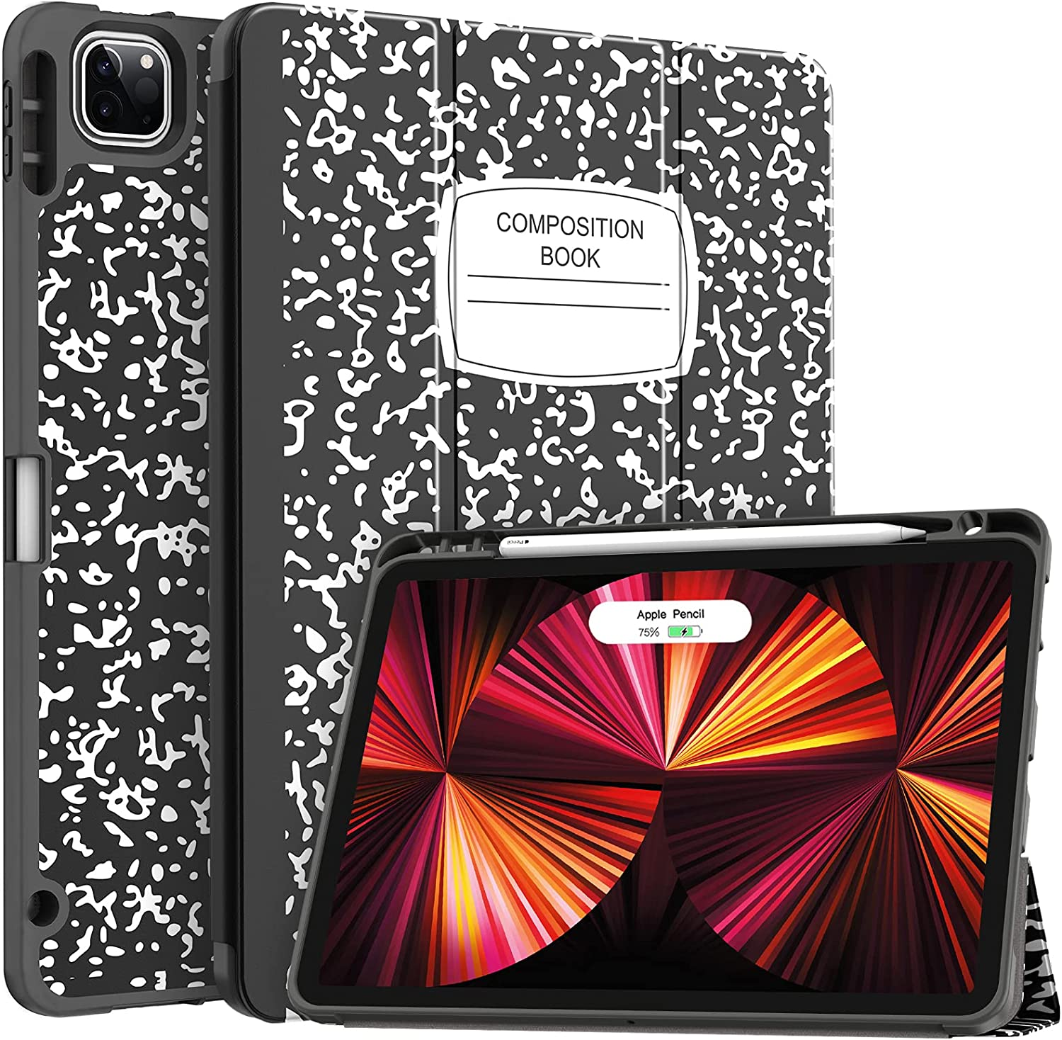 Soke New iPad Pro 11 Case 2021 with Pencil Holder - [Full Body Protection + 2nd Gen Apple Pencil Charging + Auto Wake/Sleep], Soft TPU Back Cover for 2021 iPad Pro 11 inch(Book Black)