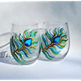 Hand Painted Peacock Feather Stemless Wine Glasses 20 oz Set Of 2