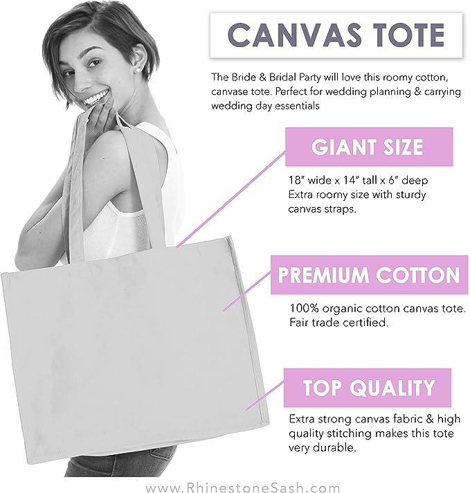Extra Large Tote Bag Women Girls Bat Mitzvah Baby Shower Yoga Teacher Art Bachelorette favors party Wedding purse carrier Wine housewarming