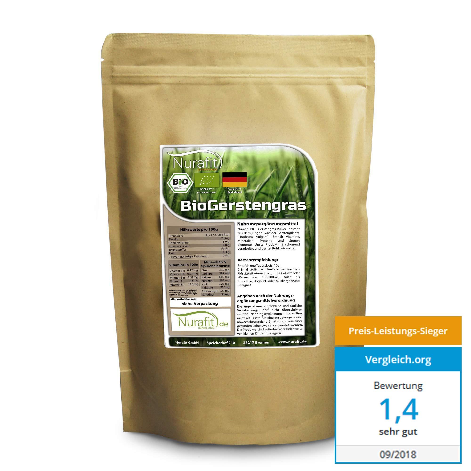 Nurafit reines BIO  Gerstengras-Pulver | Green-Smoothie Pulver | zertifizierte Spitzenqualität | Gerstenpulver ohne Zusatzstoffe | Natürlicher Gerstengrasssaft Drink | 500g / 0,5kg product image
