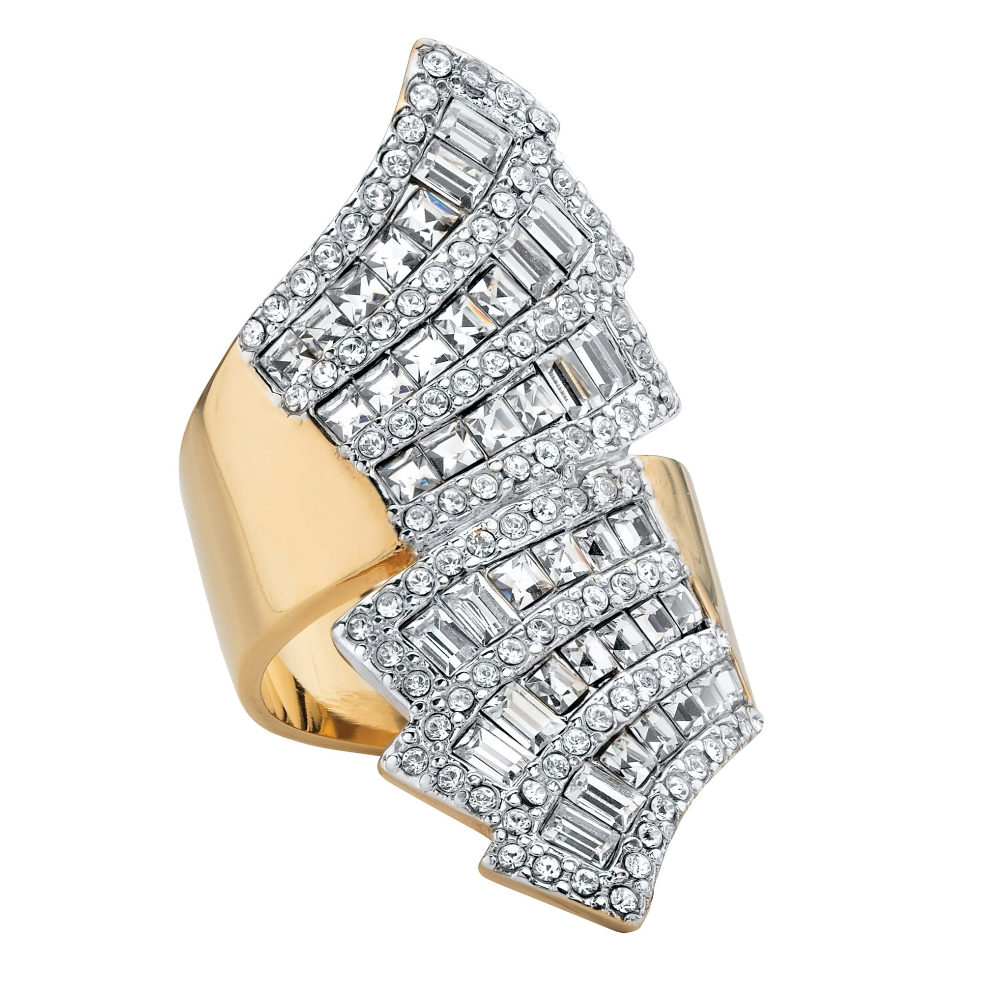 Palm Beach Jewelry 14k Gold-Plated Step Top Baguette Bypass Ring Made Swarovski Elements Size 9