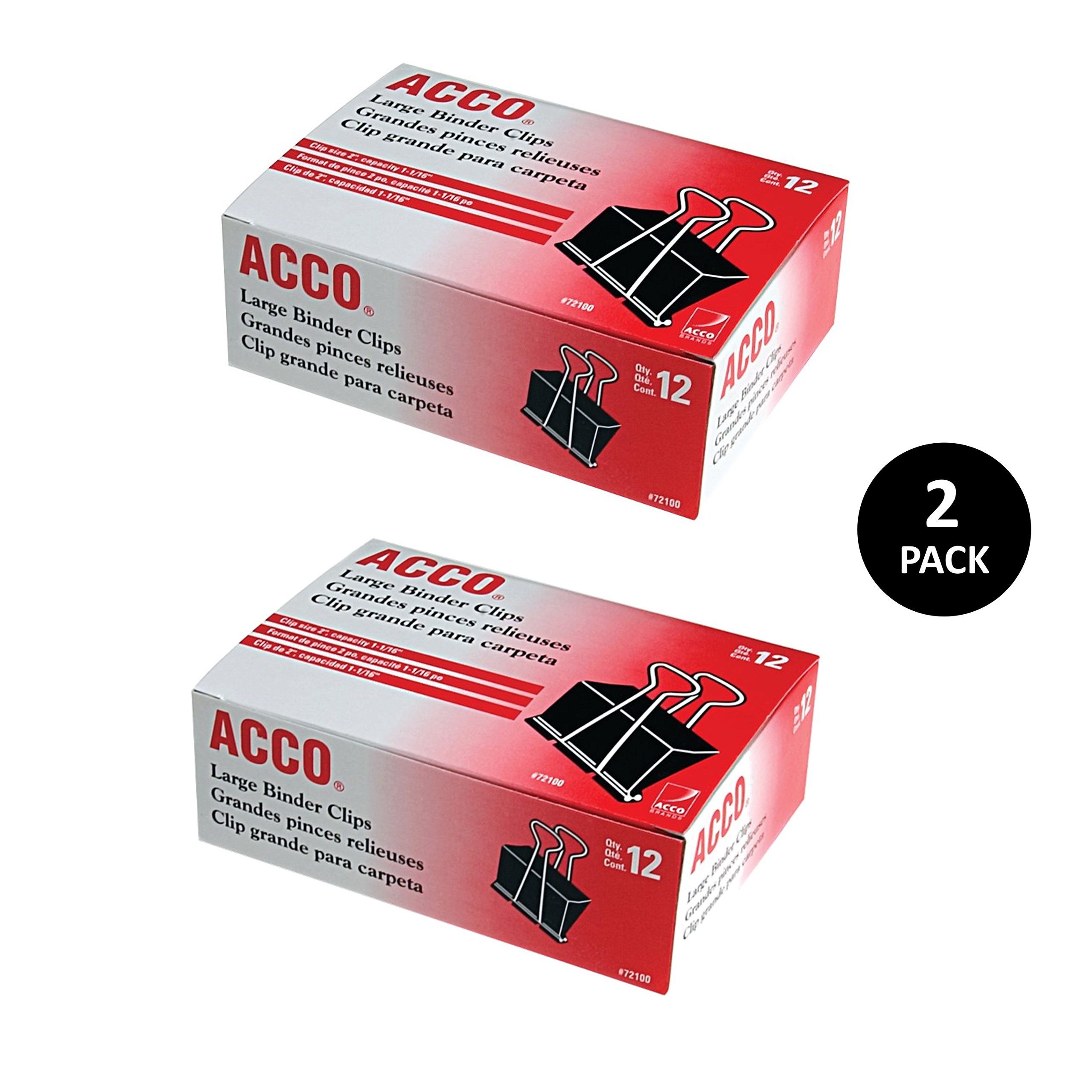 ACCO Binder Clips, Large, 12 Clips/Box, 2 Pack (A7072102)