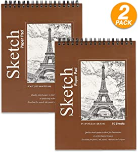 """Premium Sketch pad, 6"""" x 8"""" Top Bound Spiral Drawing Pad. to Use with Pens, Markers, Pencils for Writing, Drawing & Sketching - 50 Sheets Per pad (Pack of 2) - Emraw"""