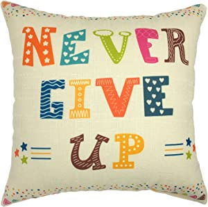 YOUR SMILE Inspiring Quote Cotton Linen Square Decorative Throw Pillow Case Cushion Cover 18x18 Inch
