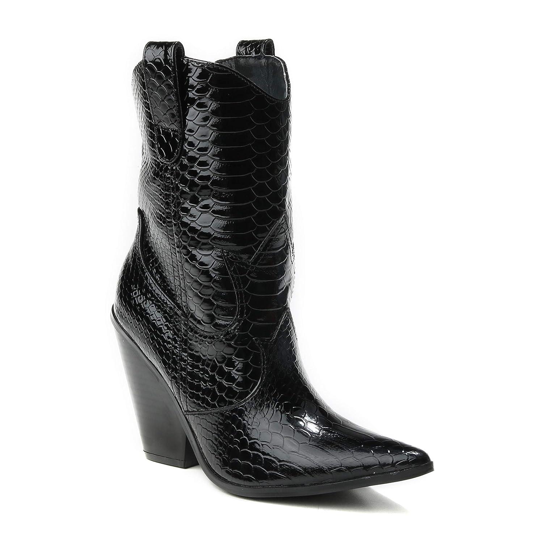 HERIXO Damen Schuhe Cowboystiefel Cowboystiefeletten Cowboy-Stiefel Stiefeletten spitz Western Kroko-Look Reptil Lack Stiefel Blockabsatz