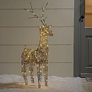 rennes noel lumineux Lights4fun Grand Renne Lumineux de Noël en Osier Gris pour  rennes noel lumineux