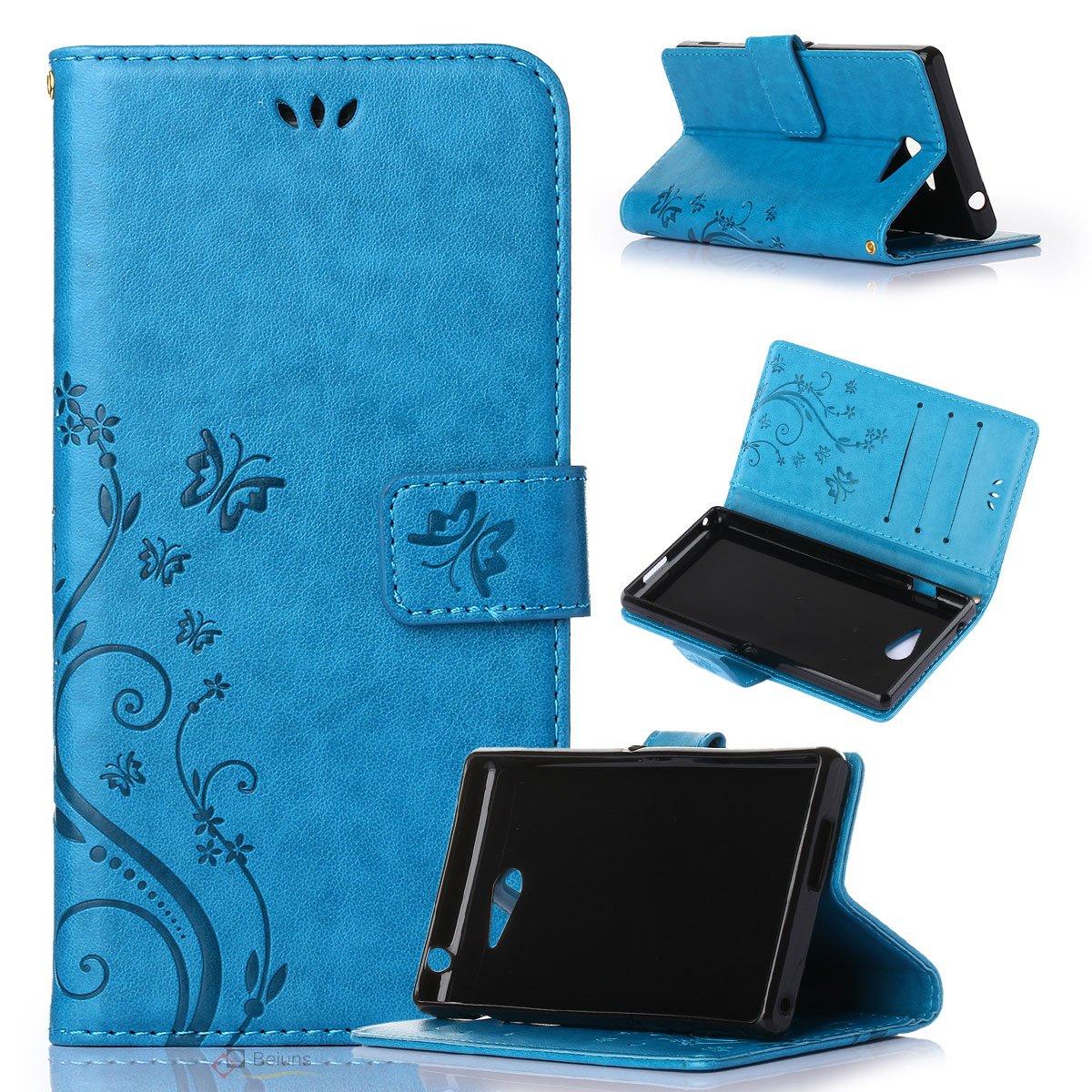 Beiuns Funda de PU Piel para Sony Xperia M2 Carcasa - R149 Azul Hermoso